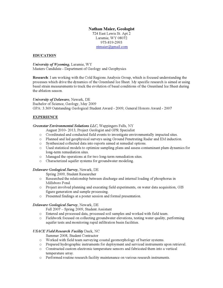 resume geologist environmental geologist resume sample